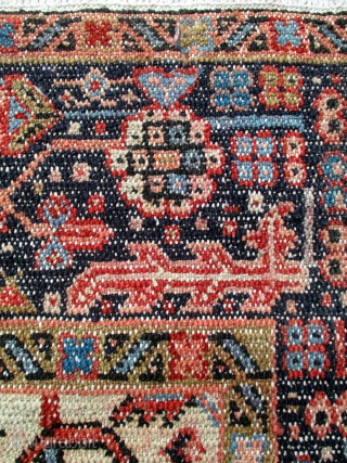KARADJA RUG which is very unusual. It is old but in perfect condition with full glossy pile and original ends and sides. The weave on the reverse confirms that this rug is  ...