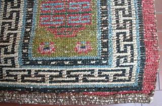 "Very old big knot Tibetan ""runner"", 228 x 66 cm, narrow XIX century type, rare green field, bright colors, heavy w&w wool structure, hand-spun wool, very good condition, no repair."