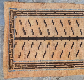 Tibetan tiger rug. Natural dyes with a line of indigo. All wool. Late 19th Century. Good condition, minor repairs.  64cm x 175cm.