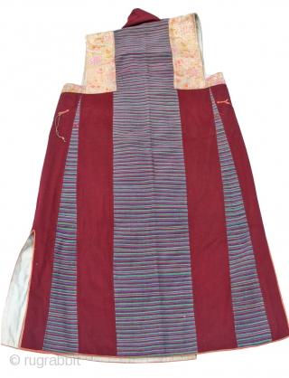 Tibetan Textile. B79  Woollen Tibetan Chuba length from shoulder 121cm  Sleeveless Chuba (Tibetan dress) from Tsang, South-West Tibet early-mid 20th Century