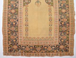 19th Century Anatolian Bursa  Prayer Rug With Great Arabic Read And Ottoman Tulip Border Untouched one Size 135 x 175 Cm
