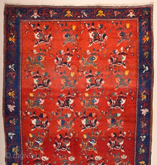 South Caucasian Karabagh Rug. In the Red field, short stems arranged in parallel rows combine into a dense repeat in shades of green, red and pink. Each stem bears a large blossom.  ...