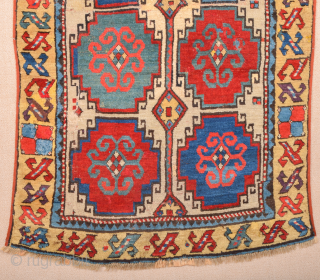 Early 19th Century Caucasian Moghan Rug Size 96 x 154 cm Reduced, cut and shut few repiling on the middle area