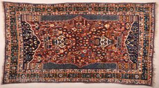 Persian Qashqai Kashkuli Rug circa 1920s size 137 x 250 cm It's in perfect condition and untouched original one.