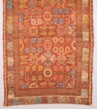 Red Field Early 19th Century Small East Turkestan Khotan Rug Size 94 x 150 cm