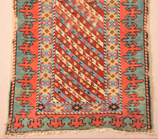 Early 19th Century Unusual Collectible Caucasian Small Rug It Has Small Unusual Size 63 x 108 cm. Untouched piece
