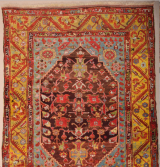 Early 19th Century West Anatolian Kula Rug It has a rare large size approximately 232 by 172 cm; 7ft. 7in., 5ft. 8in. Kula Rugs – Kula is an old rug producing town  ...