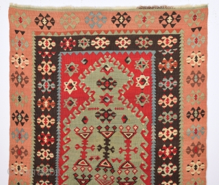 19th Century Anatolian Sivas Area Prayer Kilim.Size 86 x 130 Cm Untouched One.