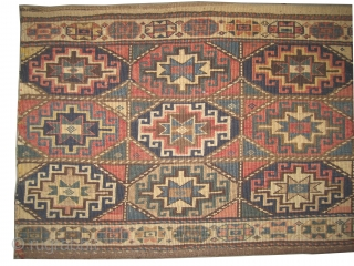 """Moghan Caucasian circa 1905 antique. Collector's item, Size: 114 x 49 (cm) 3' 9"""" x 1' 7""""  carpet ID: A-298 Vegetable dyes, woven with reverse technique of Soumak and hand spun wool,  ..."""