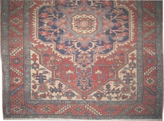 "Serapi Heriz Persian circa 1890 antique. Size: 182 x 158 (cm) 6'  x 5' 2""  carpet ID: K5862