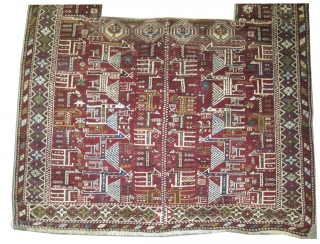 """Shirvan horse cover Caucasian circa 1905 antique. Collector's item, Size: 141 x 134 (cm) 4' 7"""" x 4' 5""""  carpet ID: H-295 The horse cover is hand knotted, the knots are hand  ..."""