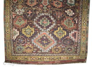 """Gutschan-Kurd Persian circa 1910 antique. Collector's item. Size: 310 x 175 (cm) 10' 2"""" x 5' 9""""  carpet ID: W-90 Vegetable dyes, the black color is oxidized, the knots are hand spun  ..."""