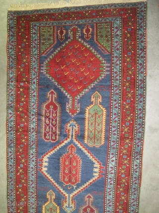 """Chikli-Kazak Caucasian knotted in 1925 dated, semi antique, collector's item, 293 x 124 (cm) 9' 7"""" x 4' 1""""  carpet ID: H-129 Dated 1925, the black knots are oxidized, the knots are  ..."""