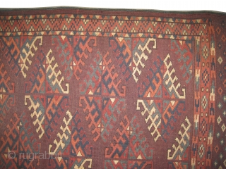 "Yemouth Dyrnak Turkmen circa 1890 antique. Collector's item. Size: 228 x 140 (cm) 7' 6"" x 4' 7""  carpet ID: K-1210 All over Turkmen Dyrnak design. Vegetable dyes, the knots are  ..."