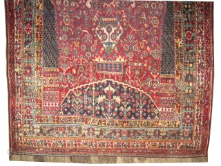 """Qashqai Mille Fleurs Persian, old,  260 x 160 (cm) 8' 6"""" x 5' 3""""  carpet ID: T-528 The background color is soft red, very fine knotted, thick pile in perfect condition,  ..."""