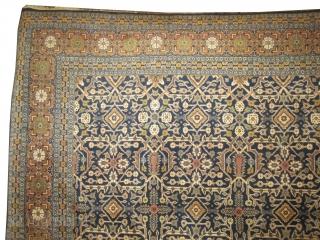 "Tabriz Persian, knotted circa in 1935 Semi-antique,  387 x 290 (cm) 12' 8"" x 9' 6""   carpet ID: P-15 Allover geometric and rare design, the black knots are oxidized, the background  ..."