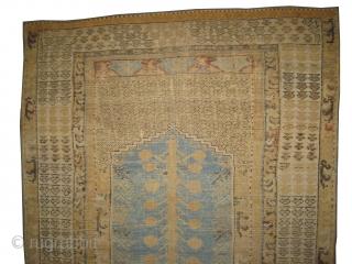 "Kula prayer Anatolian circa 18th century antique. Collector's item, Size: 150 x 106 (cm) 4' 11"" x 3' 6""  carpet ID: K-5263 The black color is oxidized, the knots are hand spun  ..."