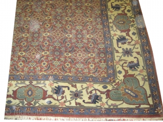 """Indian  388 x 292 (cm) 12' 9"""" x 9' 7""""  carpet ID: P-5330 The knots are hand spun wool, high pile in good condition, at the corner a hole (5x8cm) already  ..."""