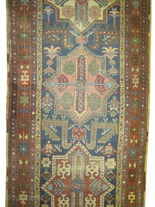 "Heriz Persian circa 1910 antique. Collector's item, Size: 361 x 102 (cm) 11' 10"" x 3' 4""  carpet ID: K-626 The center medallions are surrounded with peacocks (Caucasian Akstafa design), certain  ..."