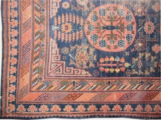 """Khotan, Size: 370 x 200 (cm) 12' 2"""" x 6' 7""""  carpet ID: K-4818 Part of the pile is used to be knotted, the edges are finished with 2cm kilim, at the  ..."""