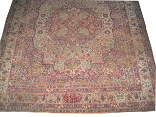 "Kirmanshah Persian signed and dated 1291 = 1874 antique. Size: 344 x 286 (cm) 11' 3"" x 9' 5""  carpet ID: P-5522