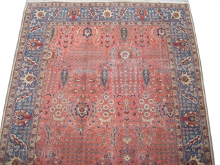 """Tabriz Persian circa 1935 semi antique, Size: 286 x 195 (cm) 9' 5"""" x 6' 5""""  carpet ID: P-6085 All over design, the pile is uniformly short, the carpet is in its  ..."""