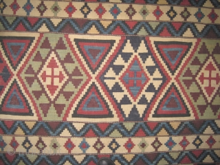 """Shirvan Caucasian kilim circa 1895 antique. Collector's item. Size: 290 x 165 (cm) 9' 6"""" x 5' 5""""  carpet ID: A-579 Perfect condition, very fine woven with hand spun 100% wool, all  ..."""