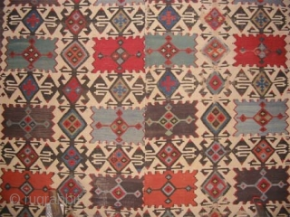 """Anatolian Kilim circa 1870 antique. Size: 430 x 187 (cm) 14' 1"""" x 6' 2""""  carpet ID: A-553 Woven with hand spun wool, the minor oxidized places needs to be woven, the  ..."""