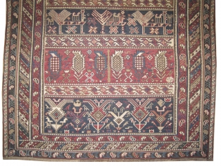 """Soumak horse cover Caucasian circa 1905 antique, collector's item. Size: 149 x 110 (cm) 4' 11"""" x 3' 7""""  carpet ID: A-112 Two tiny places 1x1 cm to be repaired. The white  ..."""