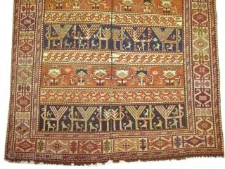 "Horse cover Soumak Caucasian circa 1910 antique. Collector's item, Size: 157 x 118 (cm) 5' 2"" x 3' 10""  carpet ID: A-123 The white color is cotton the rest is 100% wool,  ..."