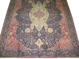 """Indian Carpet old. Size: 360 x 280 (cm) 11' 10"""" x 9' 2""""  carpet ID: P-6292 The knots are hand spun lamb wool, very fine knotted, elegant carpet, the center medallion is  ..."""