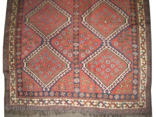 """Shiraz Persian knotted circa in 1905 antique, collector's item, 245 x 163 (cm) 8'  x 5' 4""""  carpet ID: P-4617 One edge is finished with 3cm decorated kilim, at the bottom  ..."""
