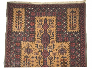 Belutch prayer Persian, knotted circa in 1924, semi antique, 83 x 126 cm, carpet ID: BRDI-62 The knots, the warp and the weft threads are hand spun lamb wool. Goat hair background, thick  ...