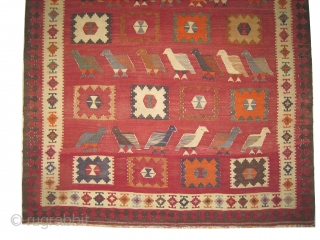 """Qashqai kelim Persian, mid 20th century. Size: 179 x 160 (cm) 5' 10"""" x 5' 3""""  carpet ID: 6682 Flat woven with hand spun wool, geometric design with partridges, perfect condition and  ..."""