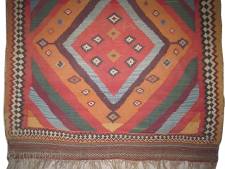"""Qashqai kelim Persian circa 1910 antique, collectors item, Size: 224 x 140 (cm) 7' 4"""" x 4' 7""""  carpet ID: LF-1 The red color is from the cochineal insect, woven with hand  ..."""