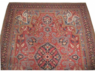 Serapi Heriz Persian, knotted circa in 1890 antique, collectors item, 325 x 240 cm, carpet ID: NO-986 The knots are hand spun lamb wool finely knotted, the selvages are woven in two lines  ...