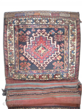 "Qashqai saddle-bag Persian circa 1905 antique. Collector's item. Size: 109 x 58 (cm) 3' 7"" x 1' 11""  carpet ID: SA-473
