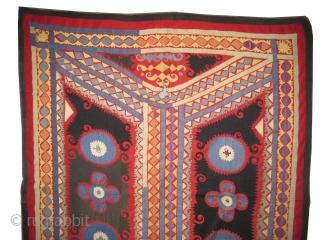 "Suzani Uzbek  Size: 150 x 123 (cm) 4' 11"" x 4'    carpet ID: A-1101 Uzbek/Tashkent. Embroidered with silk on hand woven linen, three tiny holes (0.5x0.5 cm)to be repaired. Rare  ..."