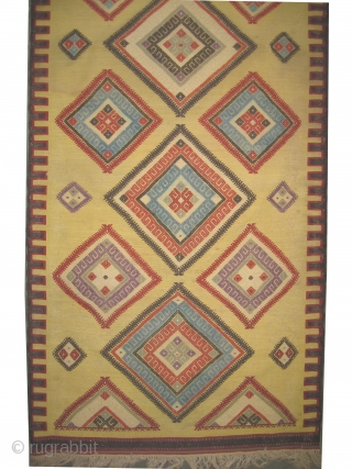 "Aydin Turkish kelim circa 1895 antique. Collector's item. Size: 262 x 80 (cm) 8' 7"" x 2' 7""  carpet ID: A-837