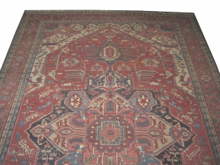 "Serapi Heriz Persian circa 1890 antique. Collector's item, Size: 600 x 388 (cm) 19' 8"" x 12' 9""  carpet ID: P-5035