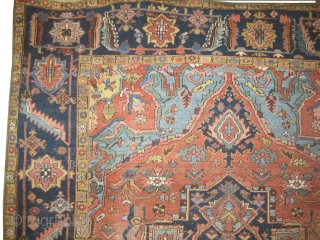 """Serapi Heriz Persian circa 1905 antique. Size: 430 x 293 (cm) 14' 1"""" x 9' 7""""  carpet ID: P-4059 The black color is oxidized, pink with navy blue center medallion, rust  ..."""