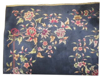 """Chinese Art Deco period circa 1930, Size: 346 x 270 (cm) 11' 4"""" x 8' 10""""  carpet ID: P-5553 The background color is indigo, Spring floral design, the knots wool, fine knotted,  ..."""