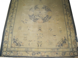 """Ningxia Chinese, Size: 317 x 255 (cm) 10' 5"""" x 8' 4""""  carpet ID: P-5950 Certain places the pile is used, from the two edges the last tiny borders are missing, the  ..."""