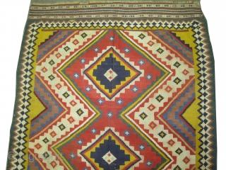 "Qashqai Kelim Persian, semi antique in good condition, geometric design and in its original shape. Size: 263 x 162 (cm) 8' 7"" x 5' 4"" CarpetID: A-336"