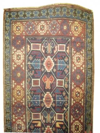 "Talish Caucasian circa 1870 antique. Size: 294 x 124 (cm) 9' 8"" x 4' 1""  carpet ID: H-331 Minor repairs, high pile, indigo background with geometric design, soft, high standard quality, rare  ..."