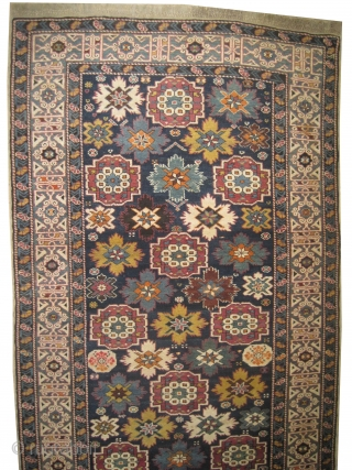 """Kouba Caucasian knotted circa in 1910 antique. Collector's item, Size: 350 x 128 (cm) 11' 6"""" x 4' 2""""  carpet ID: H-125 In perfect condition, thick pile, the surrounded large olive green  ..."""