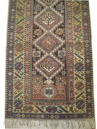 """Shirvan Caucasian, knotted circa in 1890 antique, collector's item,  335 x 129 (cm) 11'  x 4' 3""""  carpet ID: V-69 Thick pile in excellent condition, fine knotted, the warp and  ..."""