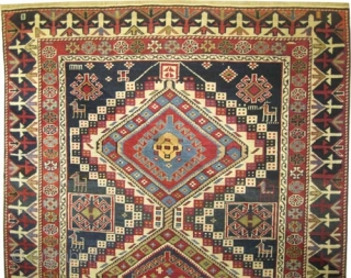 """Shirvan Caucasian, knotted circa in 1885 antique, collector's item, 158 x 112 (cm) 5' 2"""" x 3' 8""""  carpet ID: V-89 The knots are hand spun wool, the black knots are oxidized,  ..."""