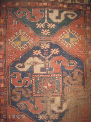 """Fragment Chondzoresk Caucasian, knotted circa in 1885 antique. Collector's item, Size: 160 x 155 (cm) 5' 3"""" x 5' 1""""  carpet ID: SA-1228"""