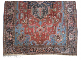 """Serapi Heriz Persian knotted circa in 1905, antique, collector's item, 350 x 230 (cm) 11' 6"""" x 7' 6""""  carpet ID: P-3557 The black knots are oxidized, the knots are hand spun  ..."""
